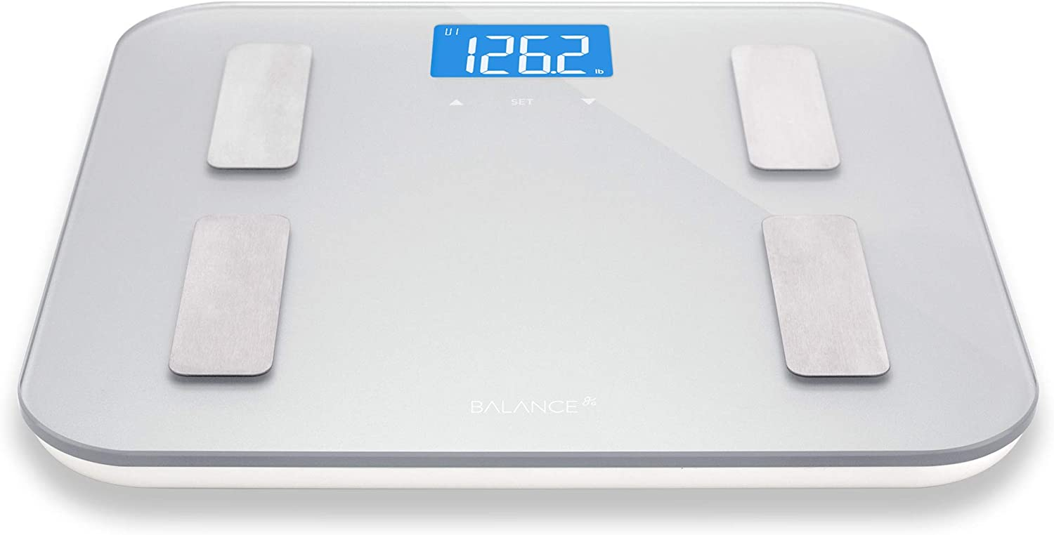 Digital Body Fat Weight Scale by Greatergoods, Accurate Health Metrics, Body Composition Weight Measurements, Glass Top, with Large Backlit Display Silver