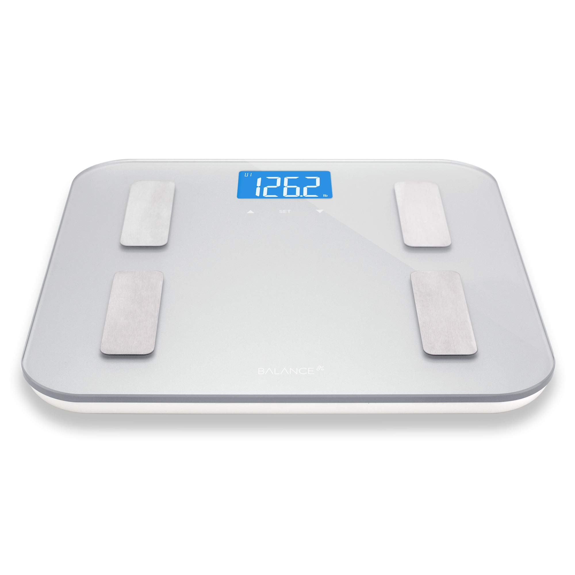 Digital Body Fat Weight Scale by Greatergoods, Accurate Health Metrics, Body Composition & Weight Measurements, Glass Top, with Large Backlit Display (Silver) by Greater Goods