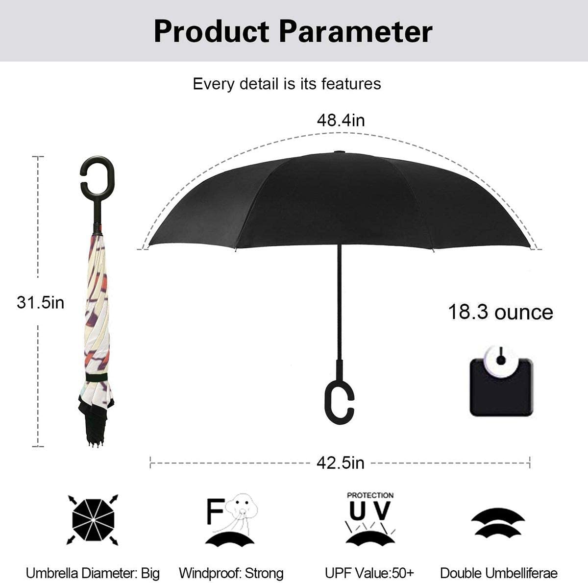 Snoopy Cute Reverse Windproof Umbrella UV Protection Upside Down Umbrella Double Layer Inverted Umbrella With C-Shaped Handle