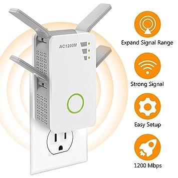 ZIHENGUO Repetidor inalámbrico de extensión de Rango WiFi de 1200Mbps, Amplificador de señal de Internet
