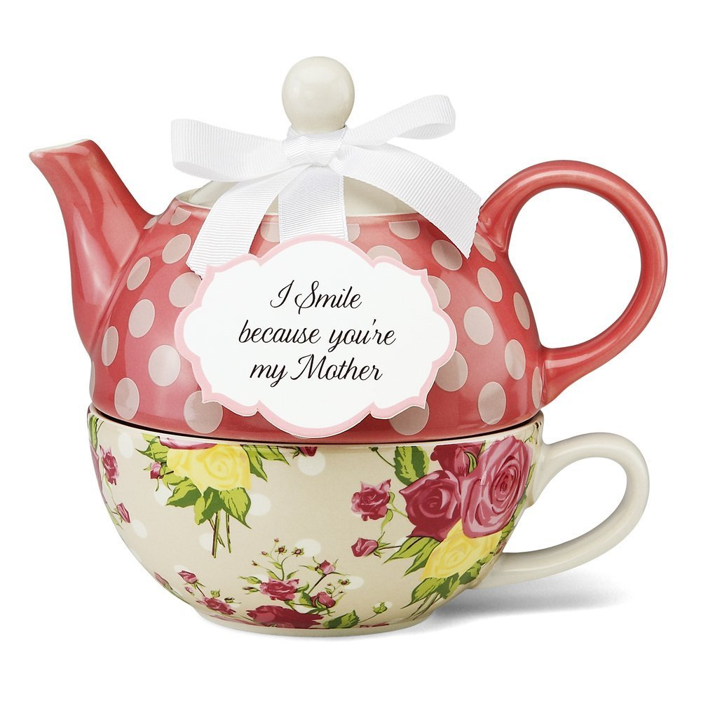 Mom will smile and think of you whenever she enjoys a soothing cup of tea prepared in this beautiful tea set!