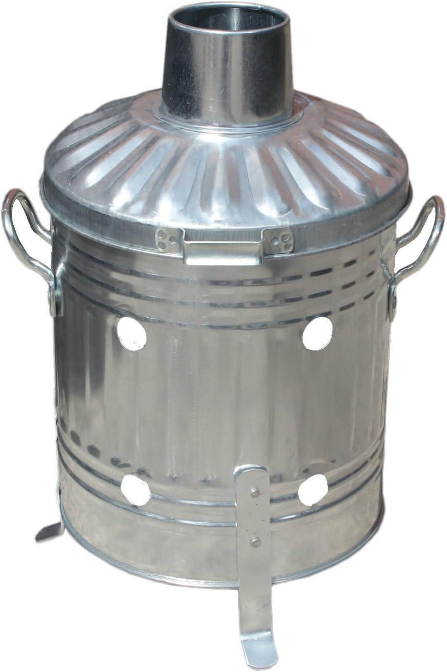 Portable 15L mini Cubo incinerador de jardín de acero galvanizado para quemar, para madera, hojas y papel: Amazon.es: Hogar