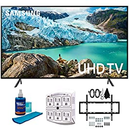 Samsung 50″ RU7100 LED Smart 4K UHD TV 2019 Model (UN50RU7100FXZA) with Slim Flat Wall Mount Kit Ultimate Bundle for 45-90 inch TVs, Screen Cleaner for LED TVs & SurgePro 6-Outlet Surge Adapter