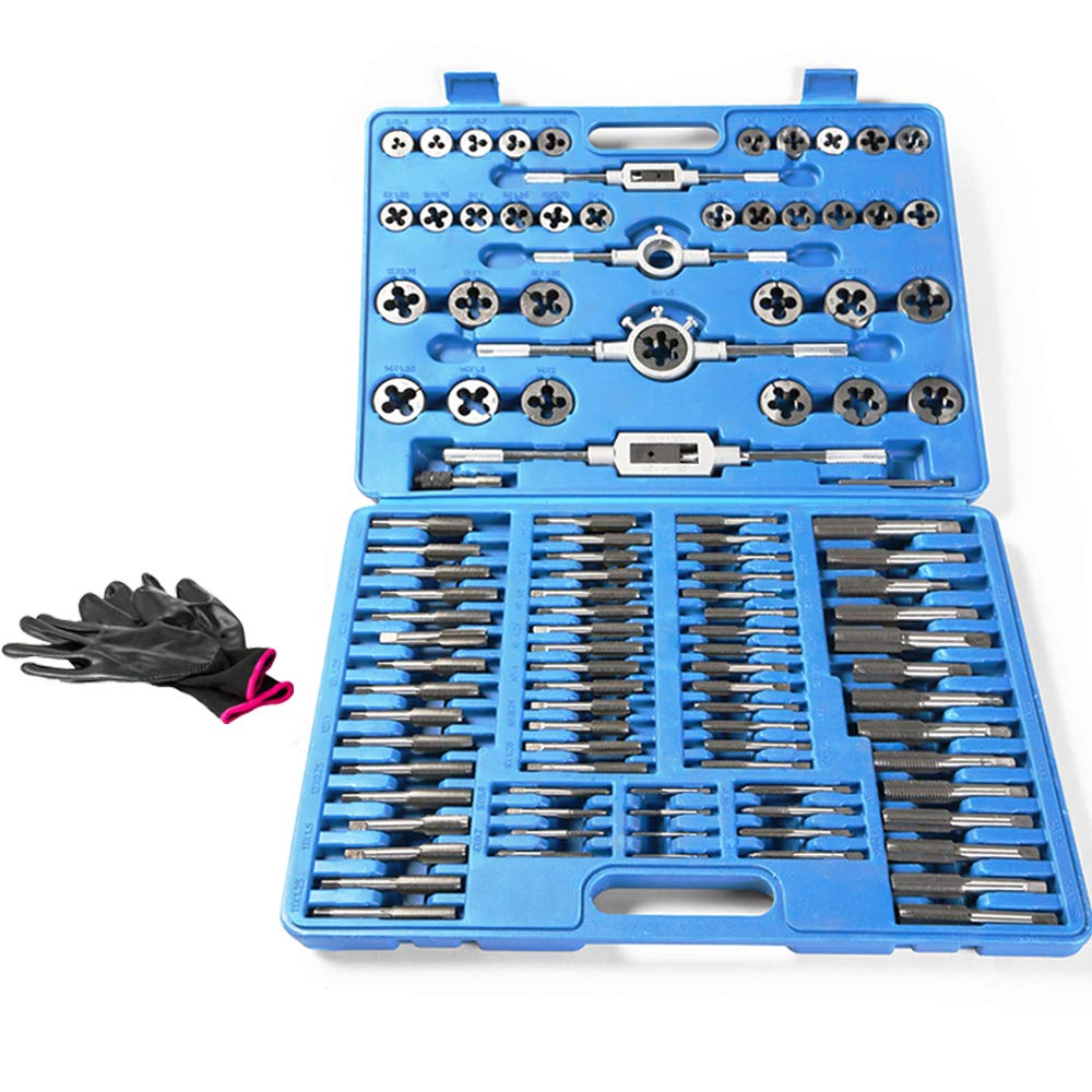 110 Piece Combination Tap and Die Set Alloy Steel 50°- 60° Metric Tools with Carrying Case + Free Glove Amazing Tour by FunTrip (Image #6)