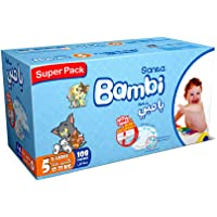 Sanita Bambi Baby Diapers Super Pack, Size 5, X-Large, 12-22 kg, 108 Count
