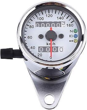 12V Dual Odometer Motorcycle LED Backlight KMH Speedometer Gauge Signal Silver