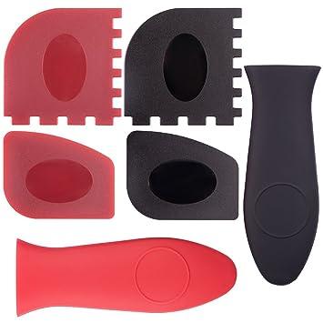 CCMART Durable Grill Pan Scraper Plastic Set Tool y Silicon Hot Handle Holders para sartenes, ollas y planchas de Hierro Fundido, Paquete de 6 (Rojo, ...