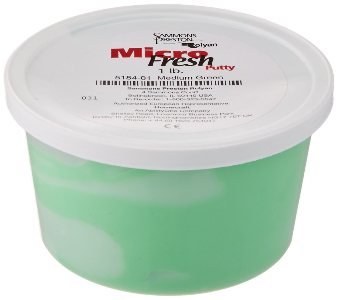 Sammons Preston-72071 Micro-Fresh Putty, Antibacterial, Antifungal, and Antimicrobial Therapy Putty for Hands and Feet Exercises, Tendonitis, Arthritis, Color Coded Non-Toxic Clay, Medium, Green, 1 Pound: Exercise Putty: Industrial & Scientific