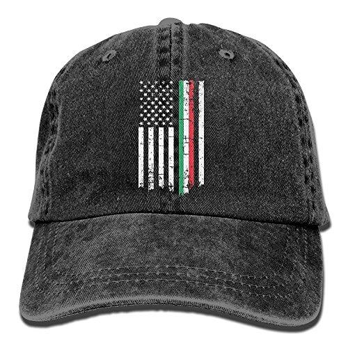 Hip Hop Italian (Men's Or Women's Italian American Thin Line Flag Yarn-Dyed Denim Baseball Hat Adjustable Hip Hop Caps)