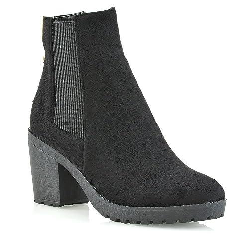 ESSEX GLAM Mujer La Cremallera Negro Gamuza Sintética Botines Señoras Elástico Plataforma Tacón Chelsea Botas Zapatos EU 36: Amazon.es: Zapatos y ...