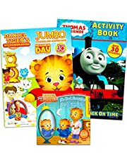 Daniel Tiger Coloring Book Super Set Bundle - Includes 1 Daniel Tiger Coloring Activity Book, 1 Daniel Tiger Reading Book, and 1 Thomas and Friends Activity Book (Party Favors for Kids)