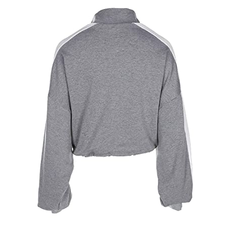 Amazon.com: Hot Sale!!! Teresamoon Women Long-Sleeve Pullover Sweatshirt Blouse Zipper Crop Tops Patchwork Shirt: Office Products