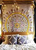 flber Sketched Floral Medallion Tapestry Gold Indian Tapestry Wall Hanging Wall Decor,60''x 80'',Twin Size (gold)