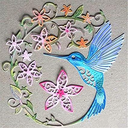 Bird Die Cut With Flower Handmade With Card stock Scrapbook Embellishment Blue