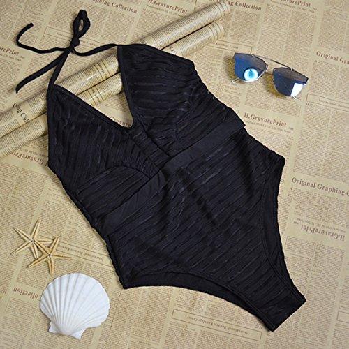 BYD Mujeres Trajes de una pieza Honda del Traje de Baño Cuello Halter Bañador Push Up Perspectiva del Bikinis Ropa de baño Negro
