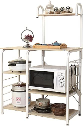 sogesfurniture 3-Tier 4-Tier Kitchen Baker's Rack Utility Storage Shelf Microwave Stand 35.4 inch Storage Cart Workstation Shelf,White Maple BHUS-172-