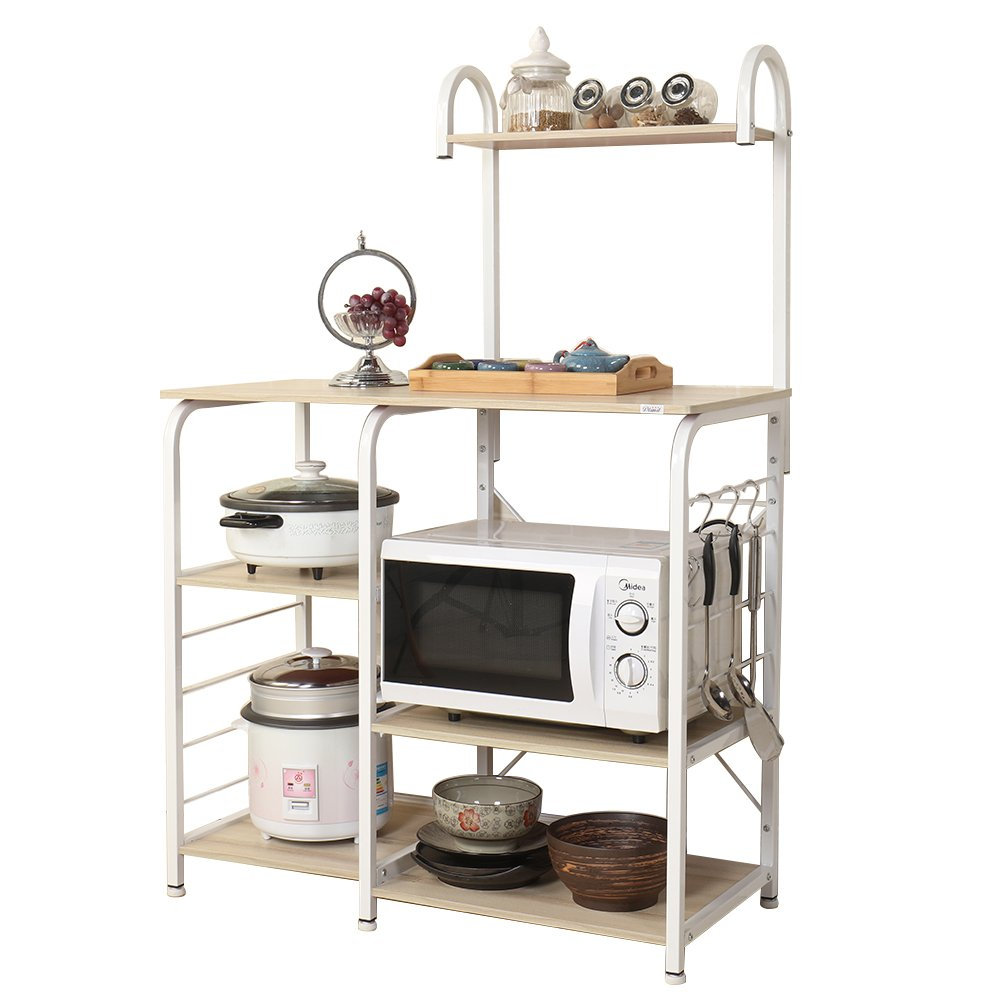 sogesfurniture 3-Tier+4-Tier Kitchen Baker's Rack Utility Storage Shelf Microwave Stand 35.4 inch Storage Cart Workstation Shelf,White Maple BHUS-172-MO