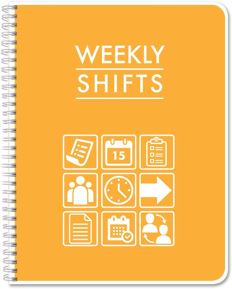 """BookFactory Weekly Shifts Journal/Weekly Schedule Log Book/Log Book/Notebook - 120 Pages, 8.5"""" x 11"""", Wire-O (LOG-120-7CW-PP-(WeeklyShifts)-BX)"""