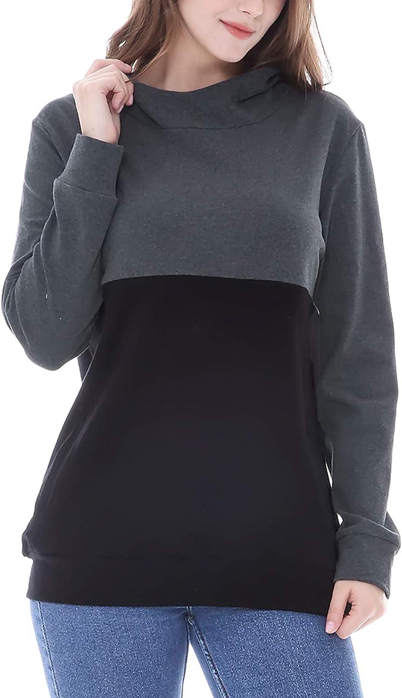 Smallshow Womens Nursing Hoodie Breastfeeding Patchwork Invisible Zipper Tops