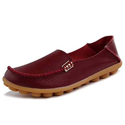 Women's Comfort Leather Loafers Casual Moccasins Driving Flats Shoes | Loafers & Slip-Ons