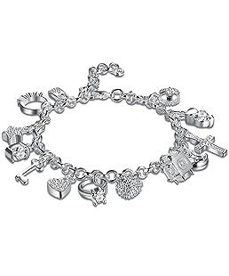 Braccialetto per Donna/Ragazza con 13 Ciondoli in Stile Argentato Bracciale Donna con Cristalli Regalo di San Valentino