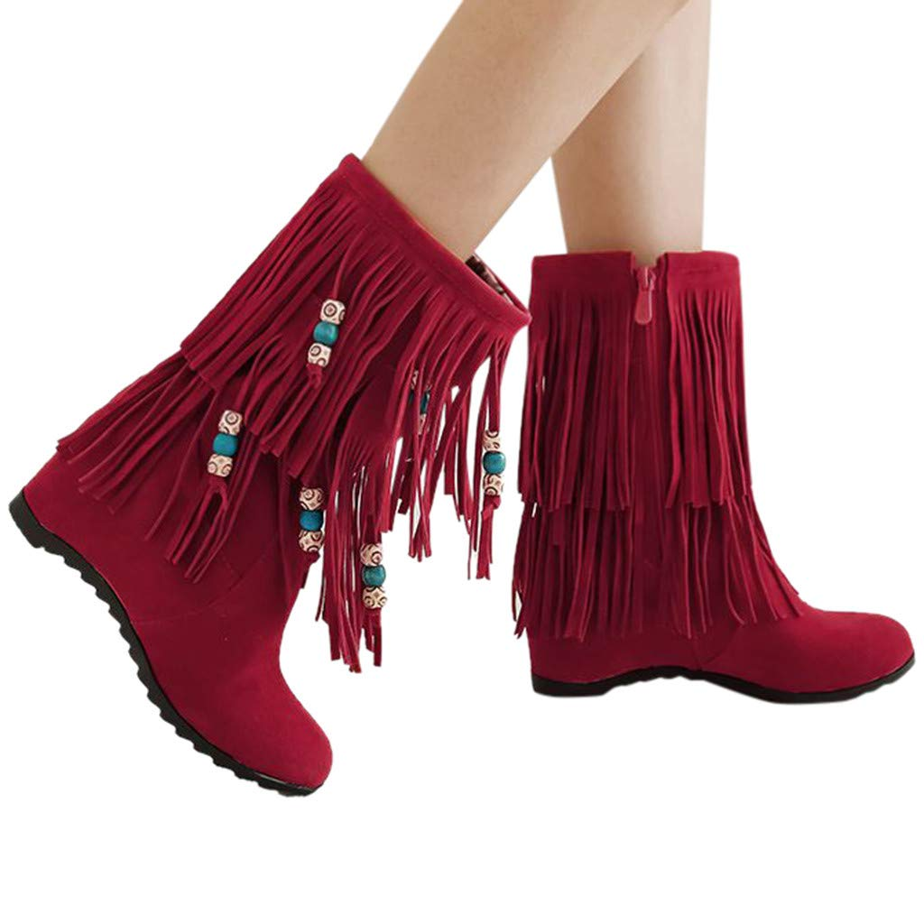 Women's Suede Boots Embroidered Tassel Moccasins Fashion Winter Snow Flats Short Boots (US:5.5, Red (No Embroidery)) by Appoi Women Shoes