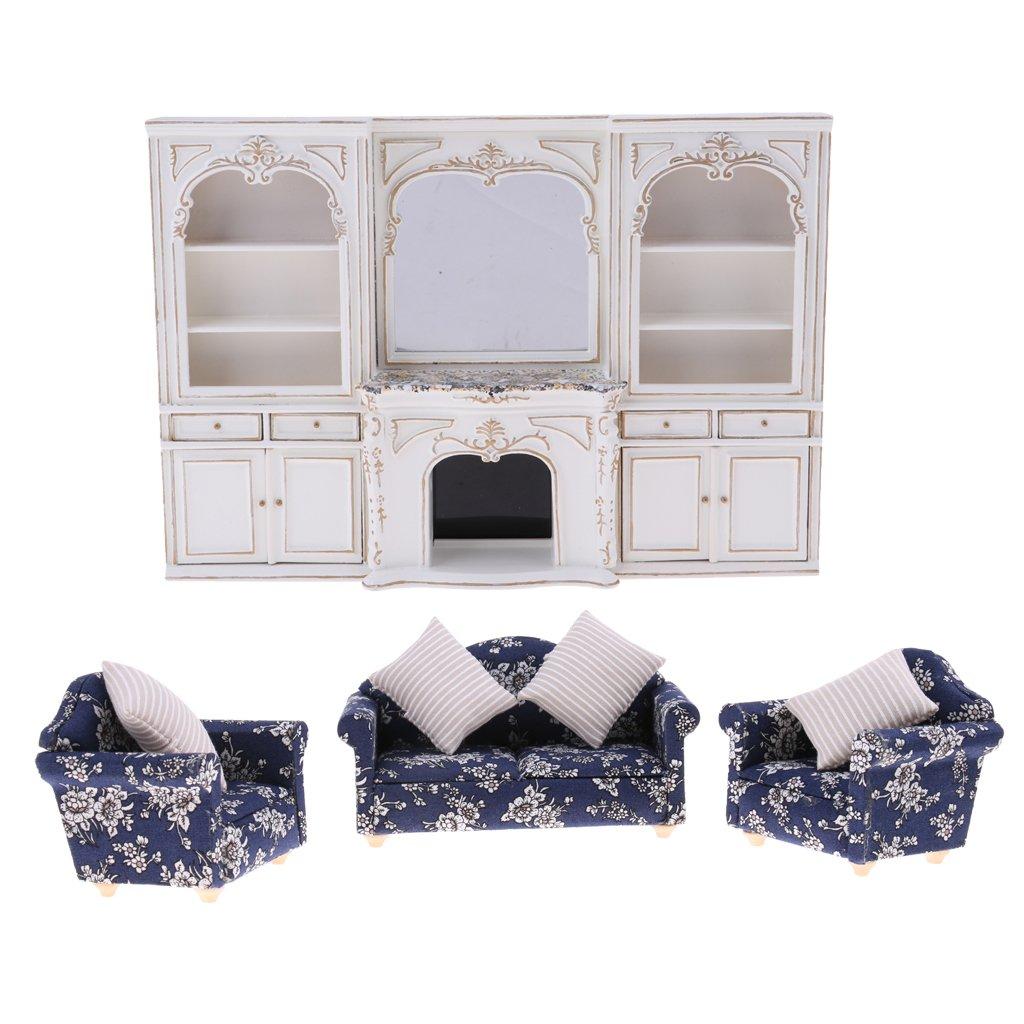 D DOLITY Conjunto de Escala 1:12 Miniatura Sofá con Cojines de Madera y Paño y Gabinete de Dollhouse