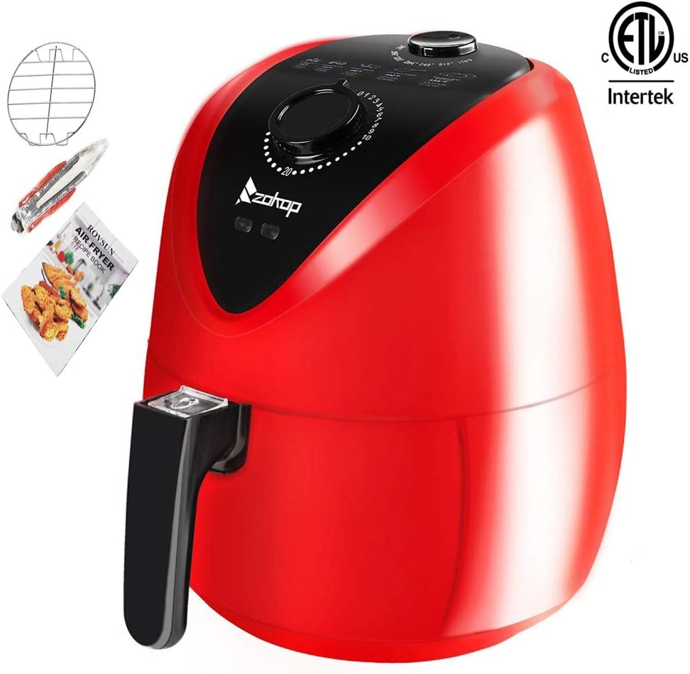 ZOKOP Healthy Air Fryer 3.7Quart 1500W Quick Cooking Power Saving Easy Cleaning, Automatic Air Frying Machine with Metal Holder and Cooking Tongs Red