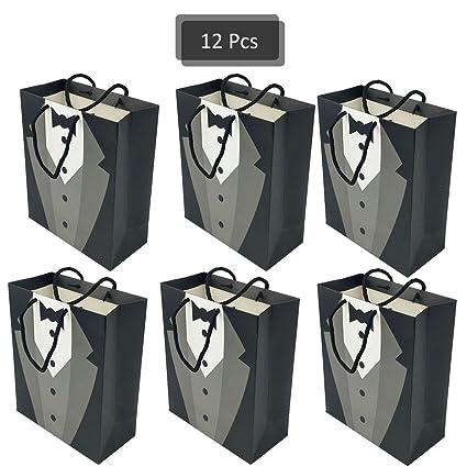 Amazon.com: 12 bolsas de regalo DreamJ de papel kraft negro ...