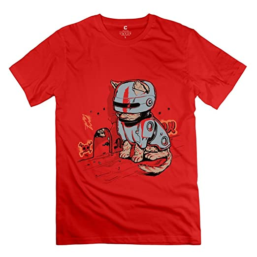 8cb2c2de6 Amazon.com: Mens Robot Cat Mouse Hunter T-Shirt - Nice Custom Red T ...