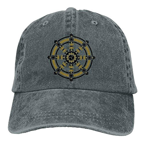 Wheel Magnesium Rear (shower curtain liner Dharmachakra Darma Wheel of Law Buddhist Symbol Cowboy Hip-Hop Hat Rear Cap Adjustable Cap)