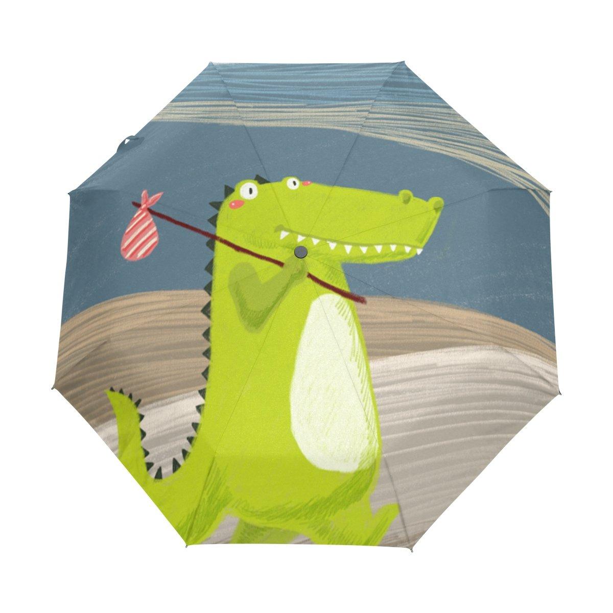 Senya Saobao防風と防雨トラベル傘with自動開いて閉じFolding恐竜ポータブル折りたたみ式太陽雨傘 B07FFPJ7TY