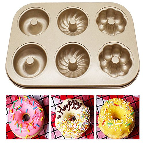 Custom Extra 6 Cups Cake Bakeware Pan Tray - Doughnut flower Muffin Mold Donut Maker Metal Tray - Muffin and Cupcake Pan - Aluminized Steel