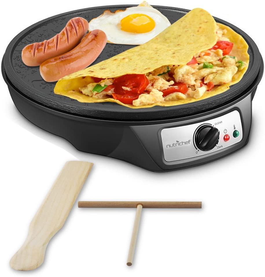 Nonstick 12-Inch Electric Crepe Maker – Aluminum Griddle Hot Plate Cooktop with Adjustable Temperature Control and LED Indicator Light, Includes Wooden Spatula and Batter Spreader – NutriChef