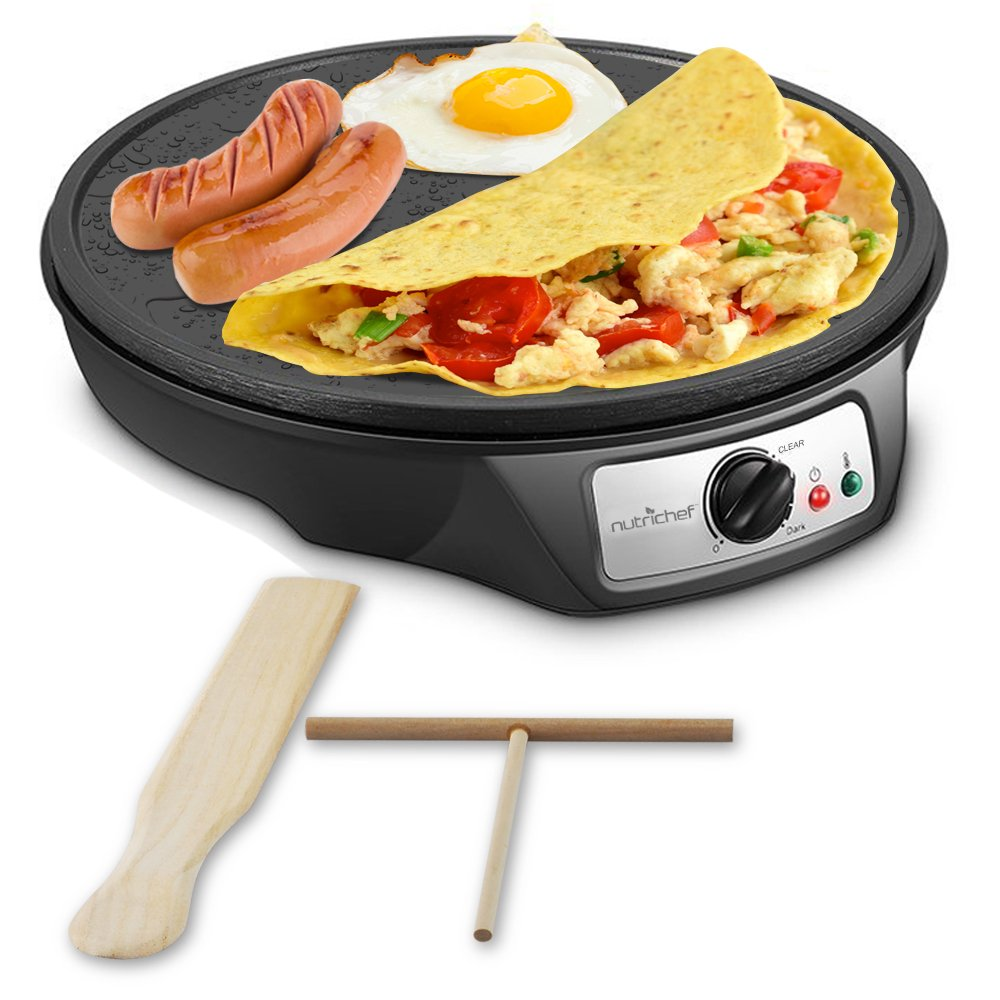 Nonstick 12-Inch Electric Crepe Maker - Aluminum Griddle Hot Plate Cooktop with Adjustable Temperature Control and LED Indicator Light, Includes Wooden Spatula and Batter Spreader - NutriChef by Nutrichef