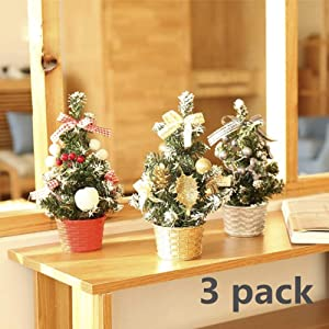 "3 Pack New 8"" Artifical Fake Mini Christmas Tree for Home Office Bedroom Livingroom Desk Top, Stand with Gifts Ornaments Decorations"