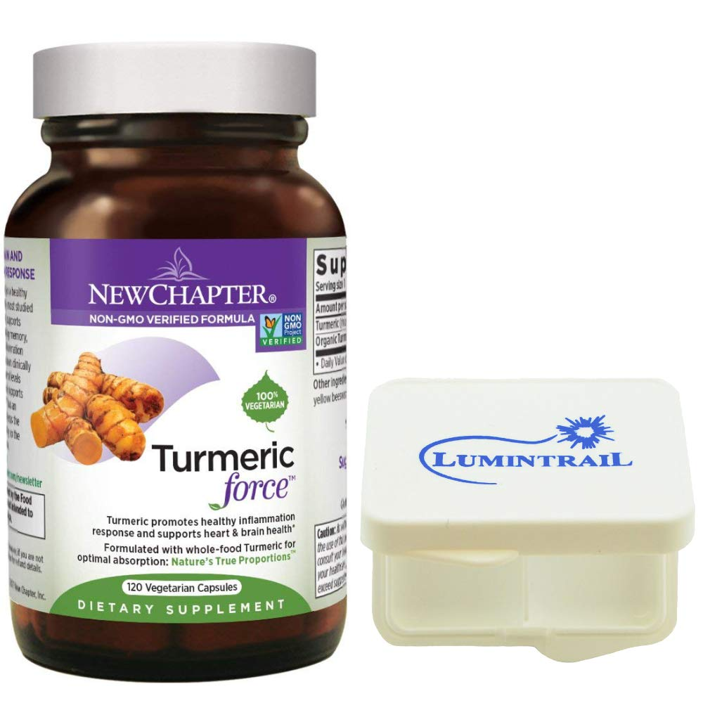 New Chapter Turmeric Supplement for Inflammation Support, Turmeric Force One Daily – 120 Vegetarian Capsules Bundle with a Lumintrail Pill Case