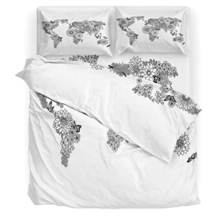 Amazon.com: 4 Piece Duvet Cover Set,Floral World Map,Bedding ...