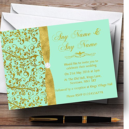 Gold And Cool Mint Green Vintage Personalized Wedding Invitations