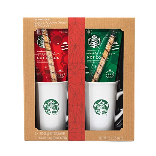 Starbucks Cozy Cocoa Gift Set | Contains Double Chocolate Cocoa Mix, Peppermint Cocoa Mix, 2 Cookie Straws and 2 Ceramic Mugs
