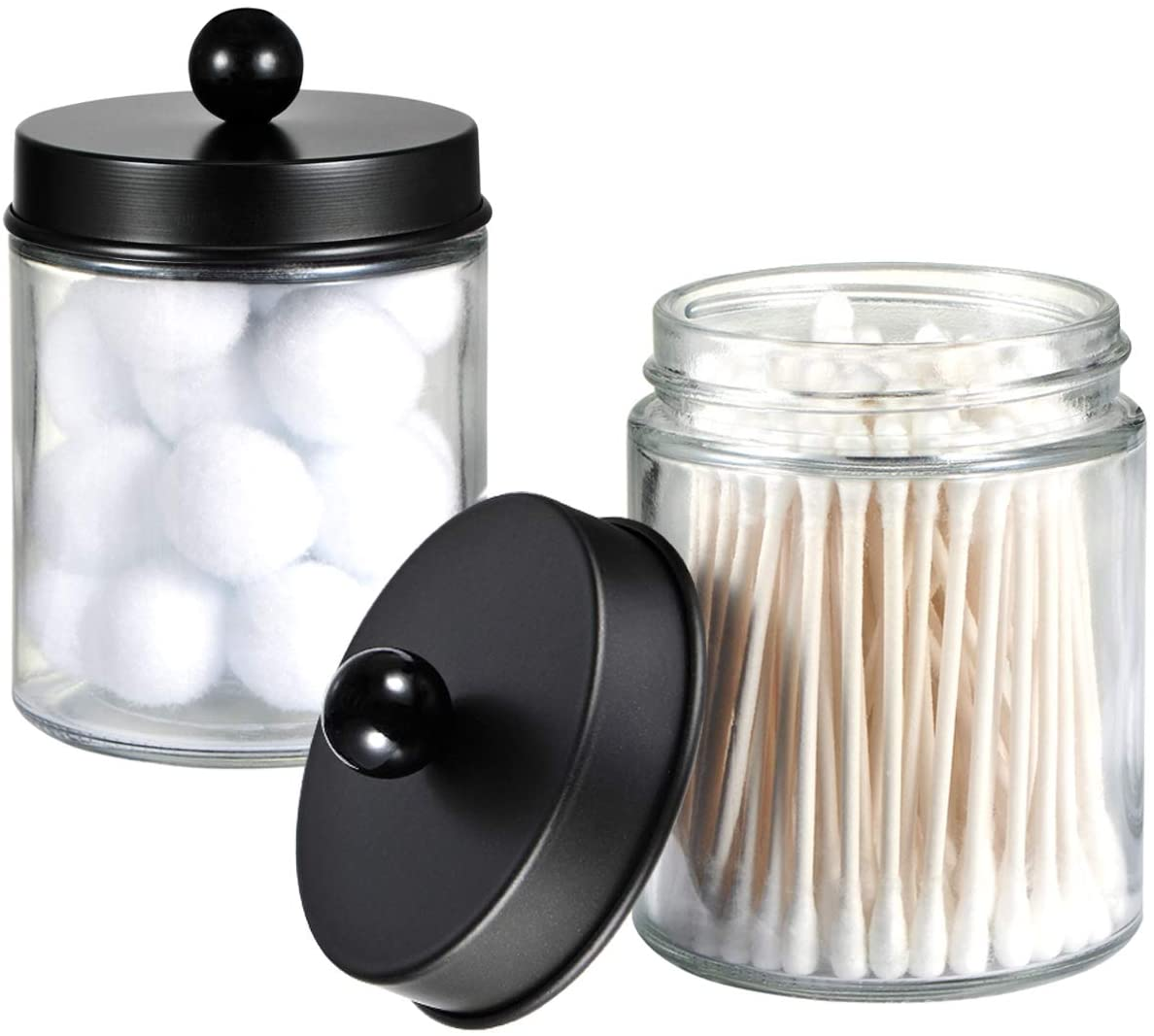 Amazon Com Apothecary Jars Bathroom Storage Organizer Cute Qtip Dispenser Holder Vanity Canister Jar Glass With Lid For Cotton Swabs Rounds Bath Salts Makeup Sponges Hair Accessories Black 2 Pack Home Kitchen