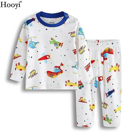 4077e458f6 Hooyi 2017 Spring Baby Boys Plane Boat Pajamas Clothes Suit Cotton (70(3-