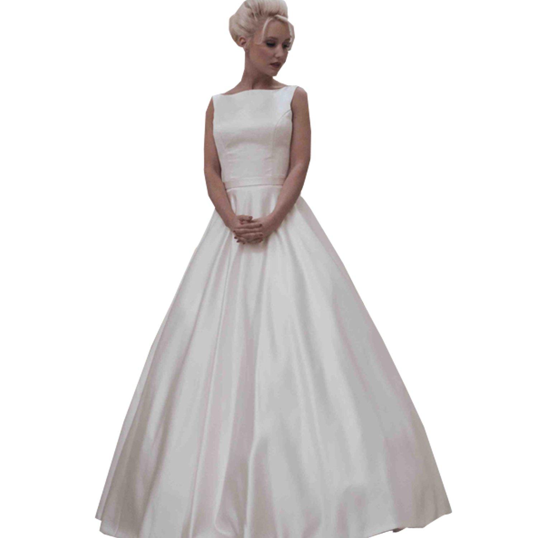 Kelaixiang White Beteau Wedding Dress for Bride Ball Gown Floor Length Sleeveless