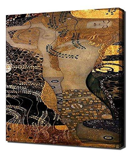 (Lilarama Gustav Klimt - Water Serpents I Framed Canvas Art Print Reproduction)