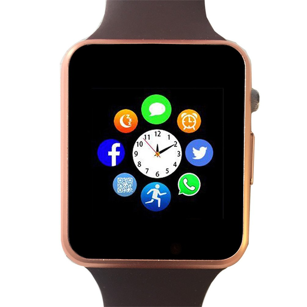 Bluetooth Smartwatch Unlocked Watch Phone can Call Text Touchscreen Camera Notification Sync Android SumSung Huawei (Gold01)