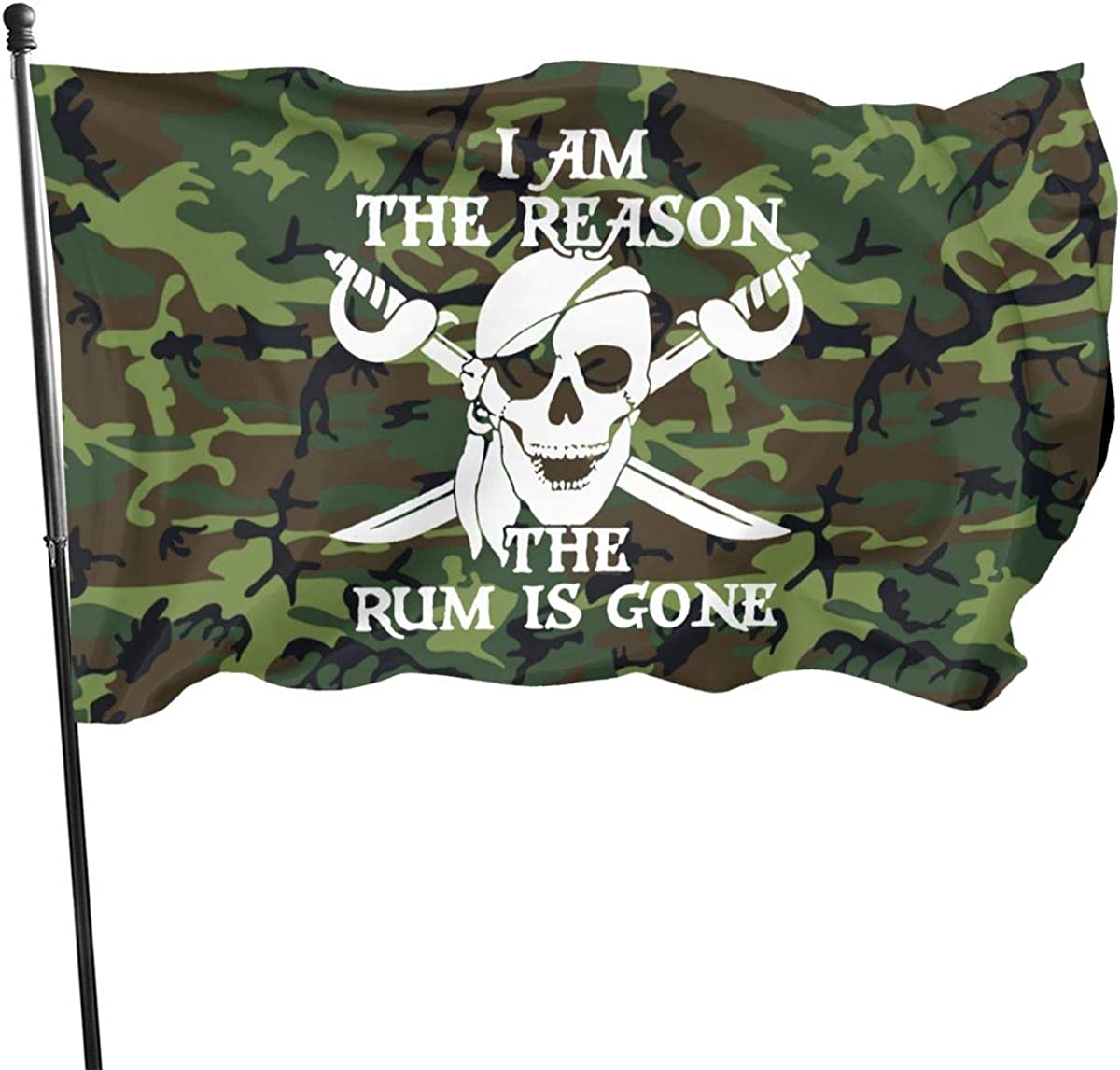 Funny Pirate The Reason The Rum is Gone Pirate 3x5 FT American Flag, Outdoor Banner, Family Banner, Garden Banner Black