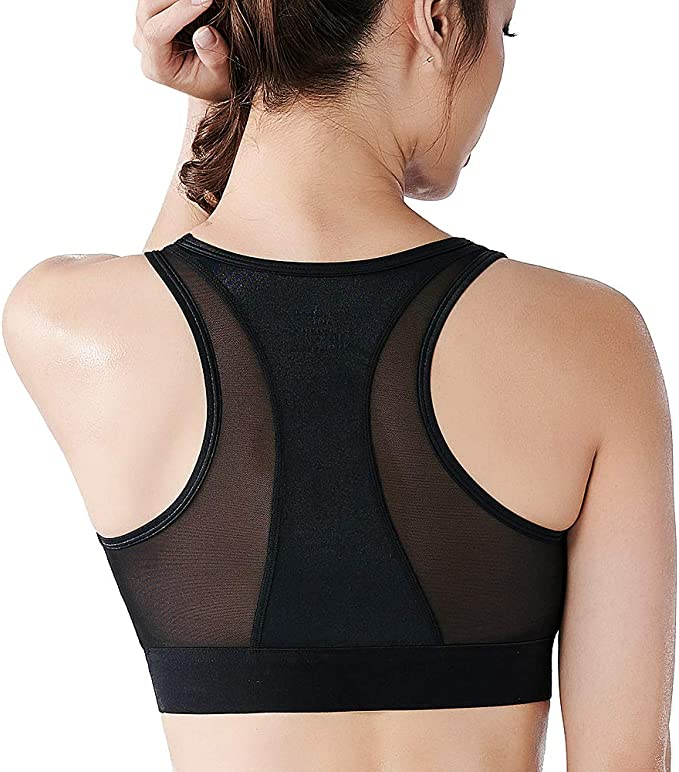 Ladies HIGH IMPACT SPORT BRA Top Wirefree Active Gym Workout BLACK 32D 34D NEW