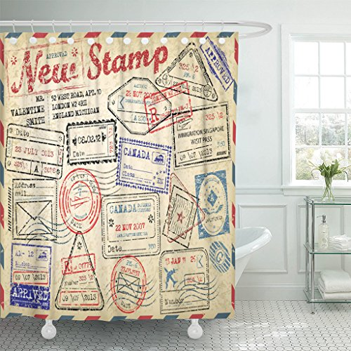 Review MAYTEC Shower Curtain Retro New Post Stamp Passport Visa Travel Waterproof Polyester Fabric 72 x 72 inches Set with Hooks