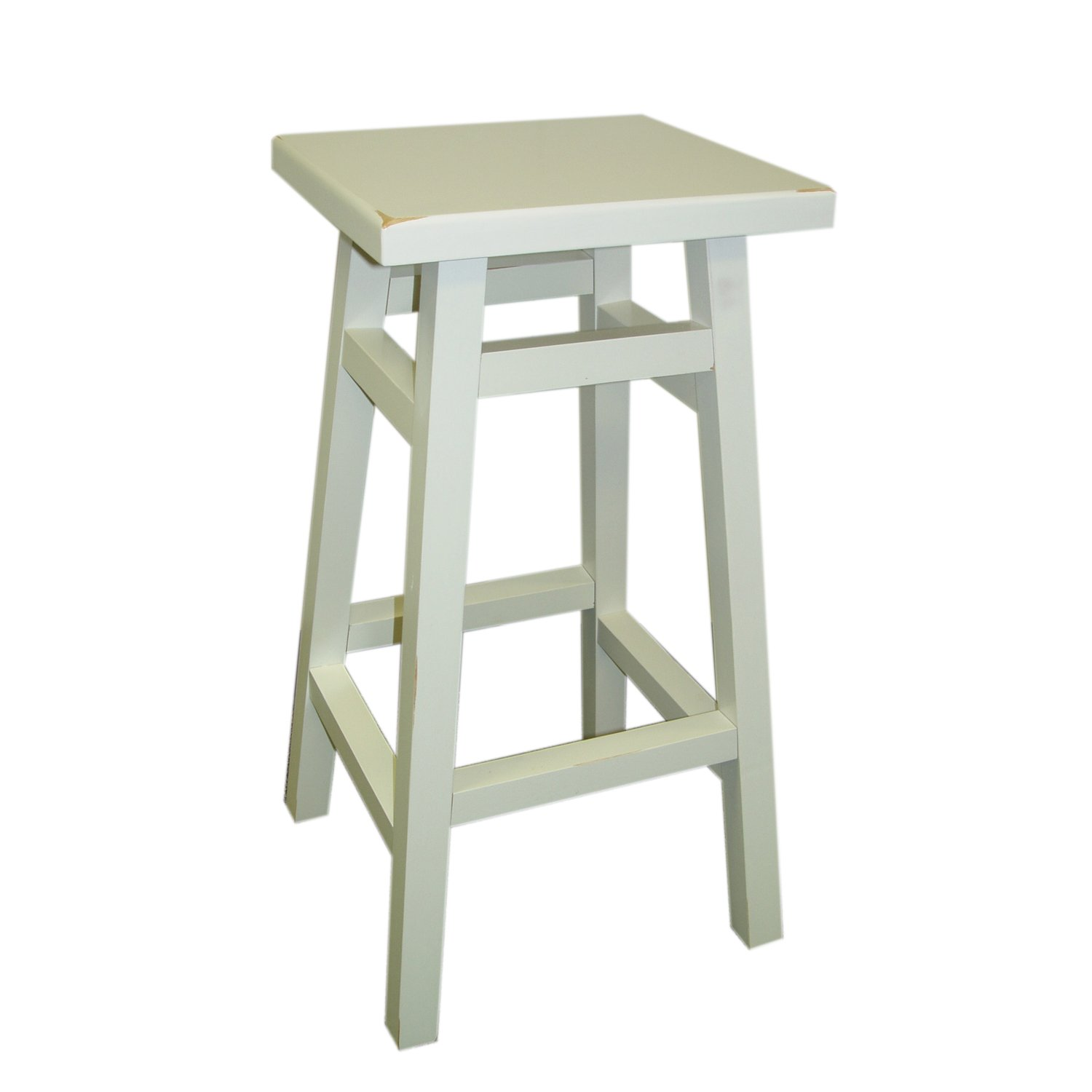 Carolina Chair and Table Thomas Tavern Stool, 24-Inch, Antique White
