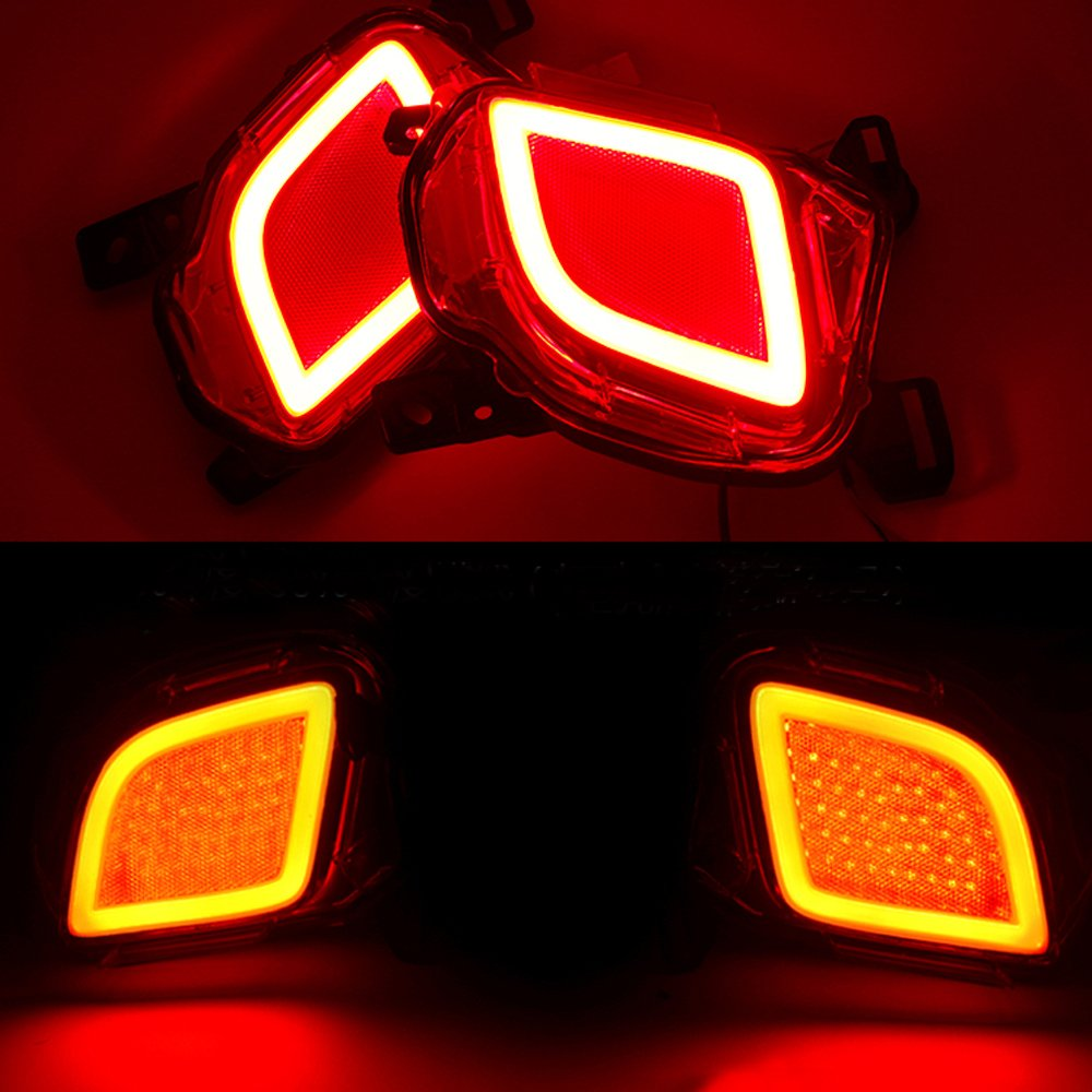 Pack Of 2 Pcs 3d Optic Led Rear Bumper Reflector Brake 2016 Toyota Highlander Curt T Connector Wiring Harness 56217 Tail Lights For 2015 Up Automotive